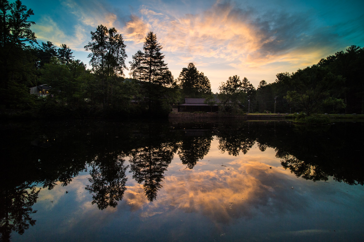 Zack Smith Photography North Carolina Brevard School of Music Center pond reflection sky sunset clouds woods hills trees Nature