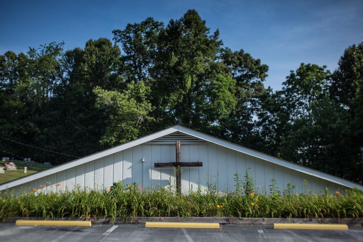 Zack Smith Photography North Carolina Brevard School of Music Center Church Cross parking lot trees