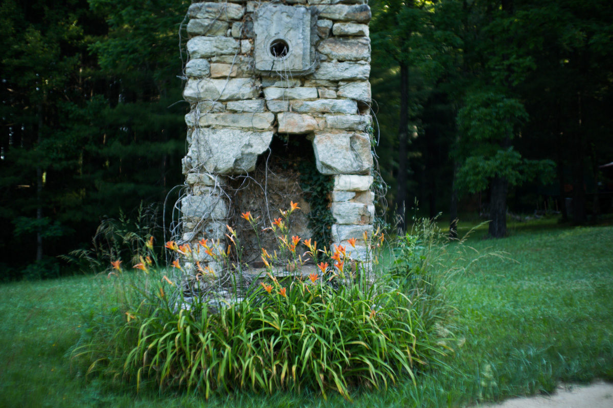 Zack Smith Photography North Carolina Brevard School of Music Center ruins bricks grass wild flowers grass nature