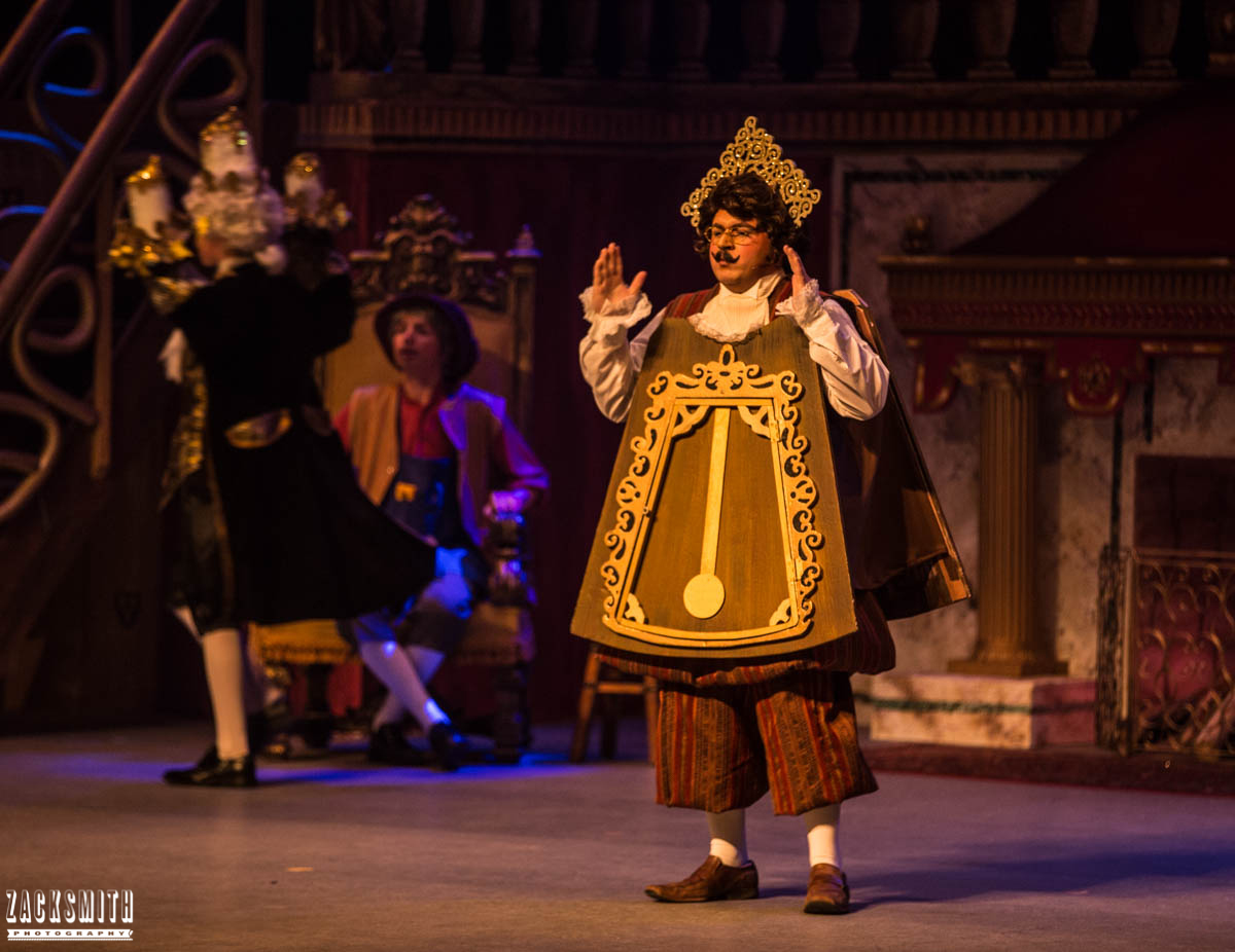Beauty and the Beast The Performing Arts Academy Talent Performance Photography Zack Smith Photographer Chalmette Cogsworth clock candle Lumiere Maurice Castle