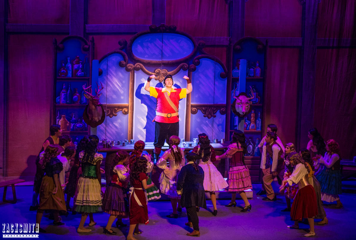 Beauty and the Beast The Performing Arts Academy Talent Performance Photography Zack Smith Photographer Chalmette Gaston Flexing Bar scene Big Happy fun Musical Theater villagers