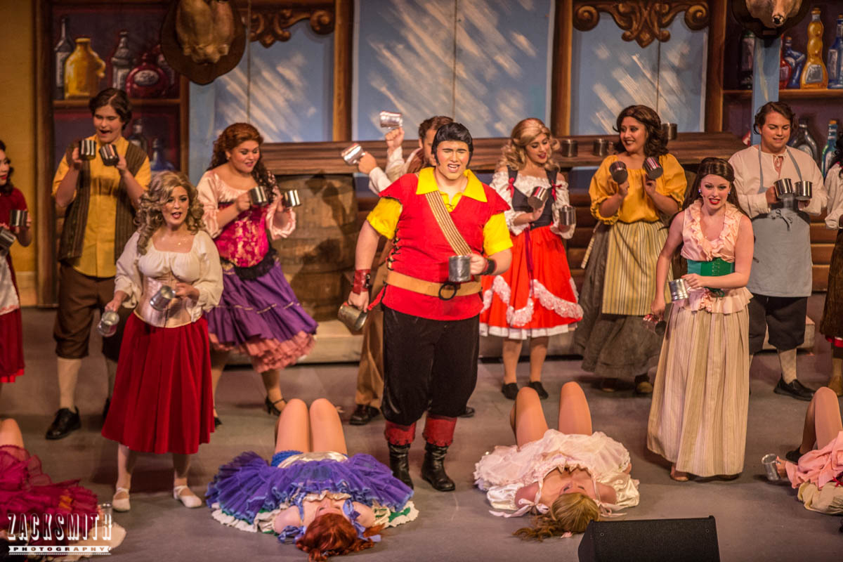 Beauty and the Beast The Performing Arts Academy Talent Performance Photography Zack Smith Photographer Chalmette Musical Theater Gaston Tavern Bar Scene Drinks Villagers