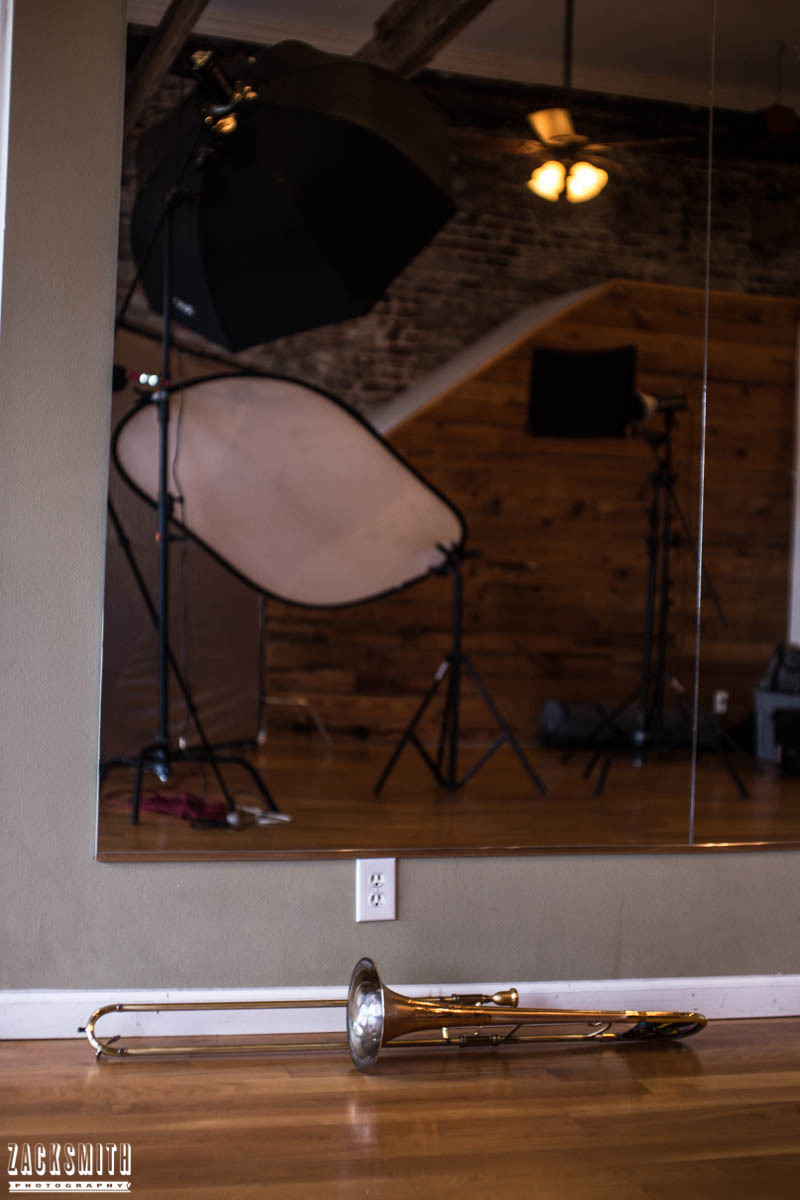 St Charles Vision portrait photo shoot with Zack Smith Photography New Orleans Photoshoot setup mirror trombone artistic