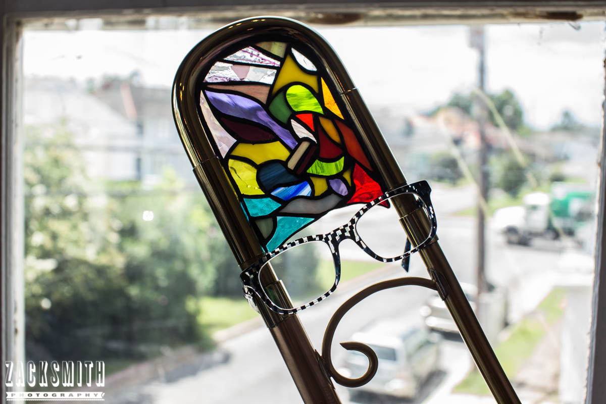 St Charles Vision portrait photo shoot with Zack Smith Photography New Orleans stained glass trombone glasses