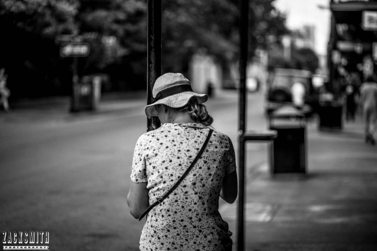 """Zack Smith Photography - """"Walking with the Prime"""" photo gallery new orleans 85mm Louisiana photographer photo tips and techniques lady blurry city street black and white"""