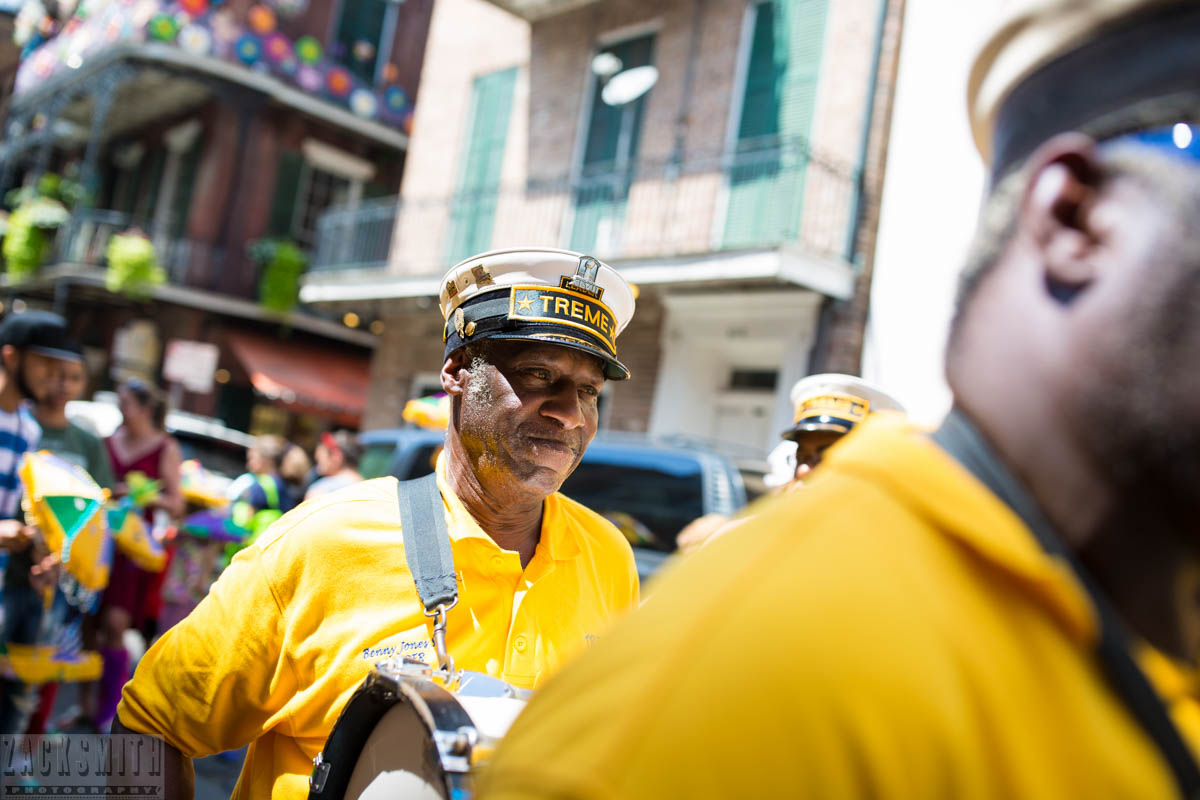 Benny Jones, leader, of the Treme Brass Band start out their Kid's 2nd Line from the Cabildo.