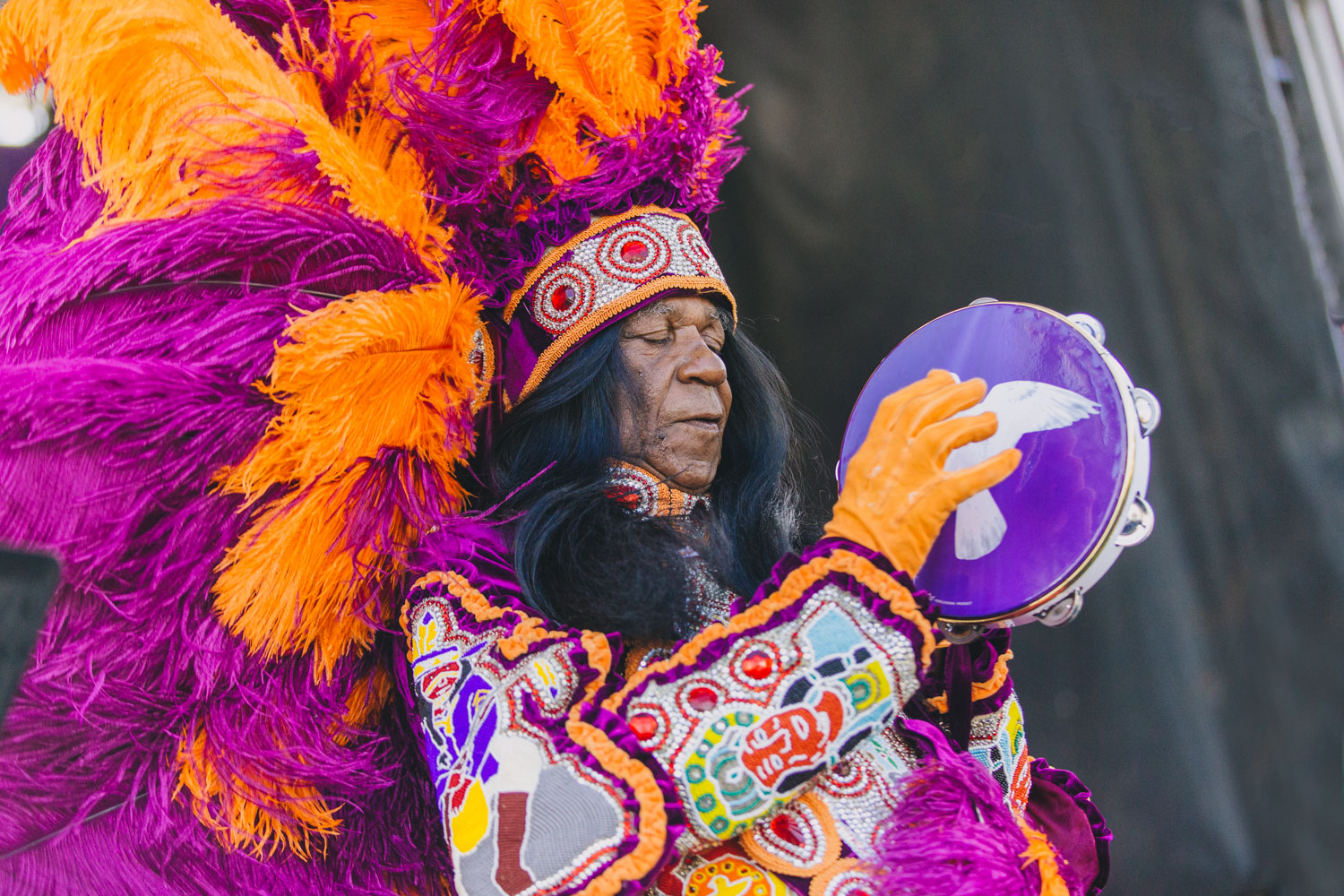 Big Chief Monk Boudreaux was the prettiest all weekend long on the Abita Stage.