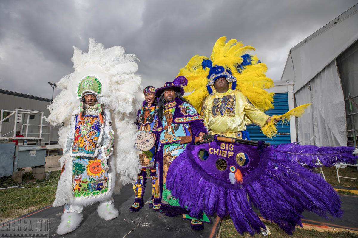Big Chief Juan Pardo and the Golden Comanche Indians backstage at the Jazz and Heritage Stage on Friday, April 28th