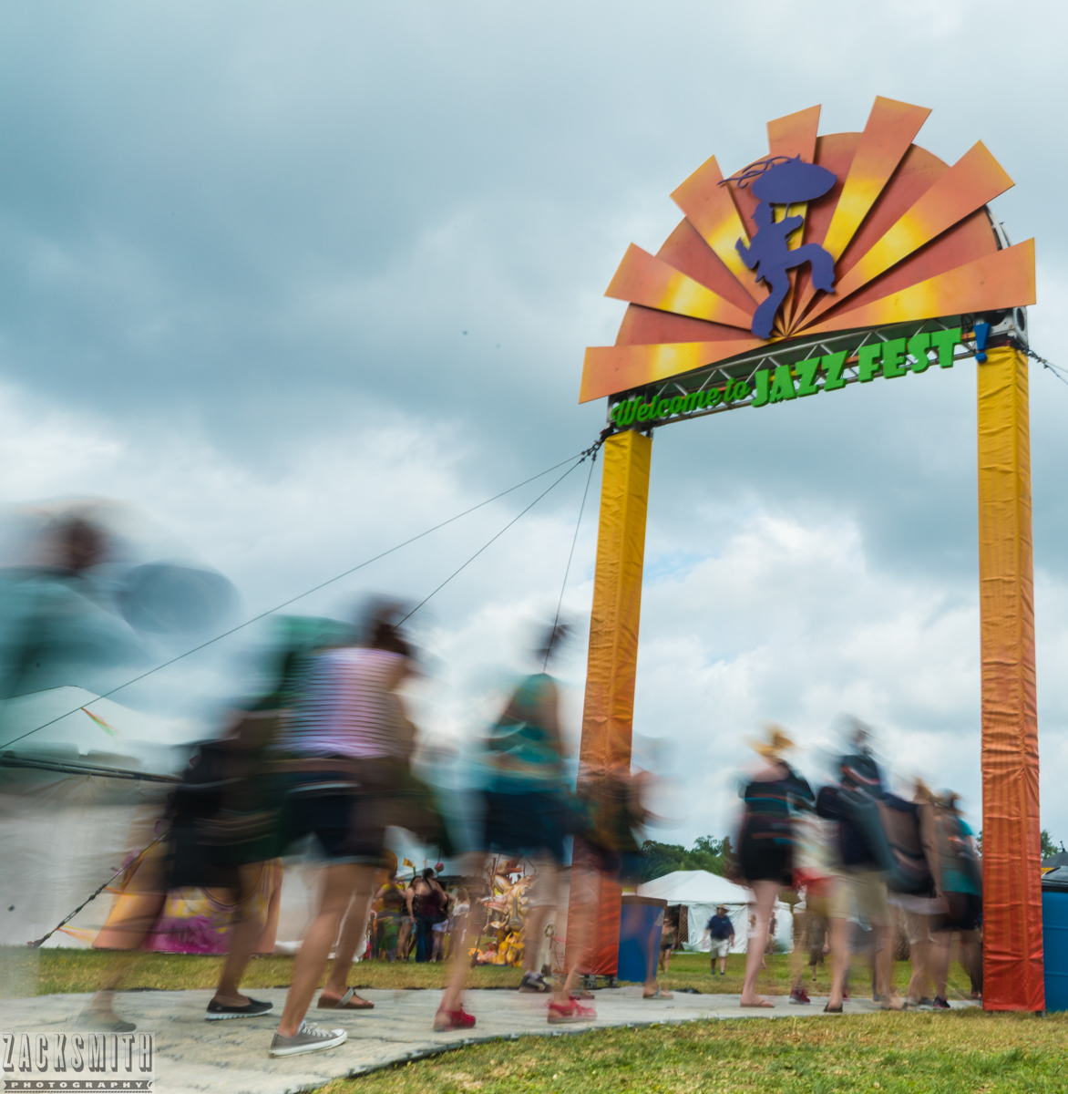 Participants rush into the Gentilly entrance of Jazz Fest on Saturday, April 29th. I achieved this effect by using a 4 stop neutral density filter which allowed me to choose a longer shutter speed but not overexpose the images. I used a tripod as well.