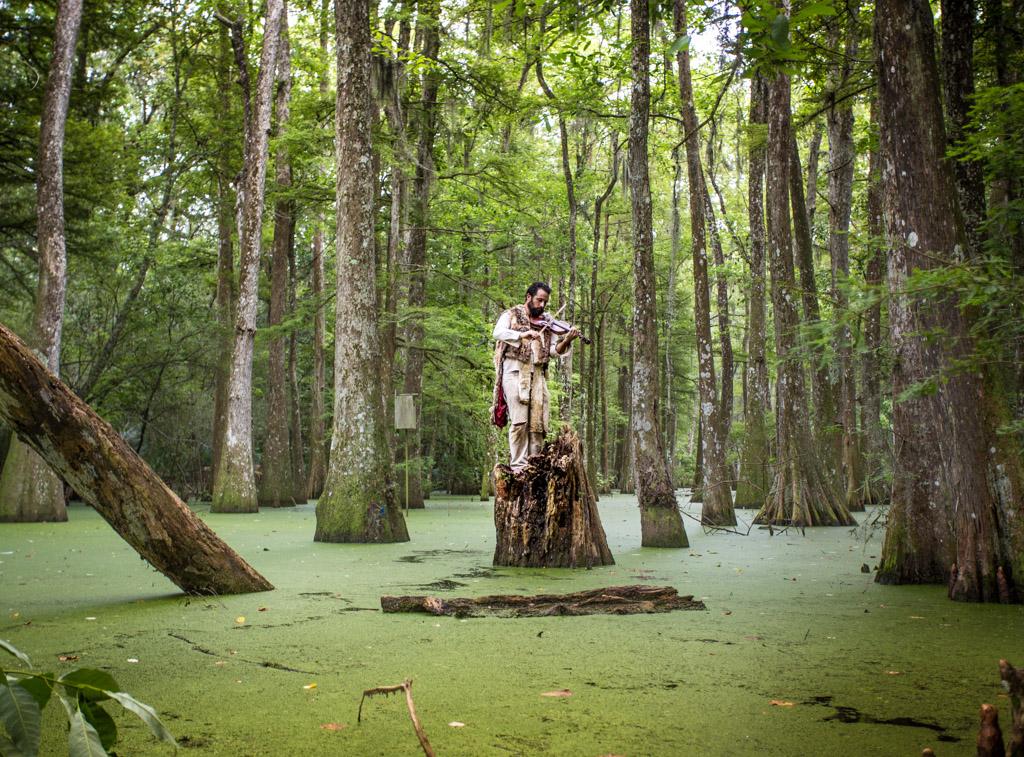 Nick Slie in Lake Verrett swamp. ©Zack Smith Photography