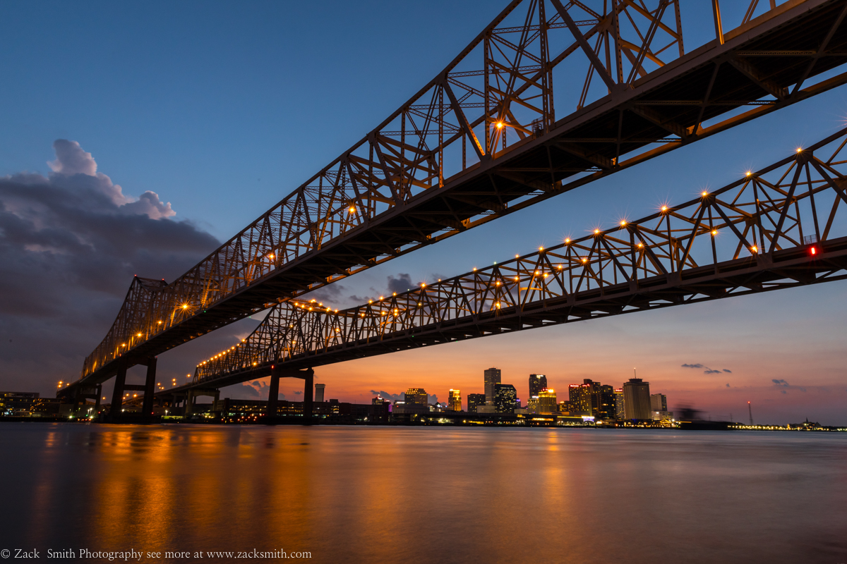 The Crescent City Connection in New Orleans as seen in twilight. ©Zack Smith Photography