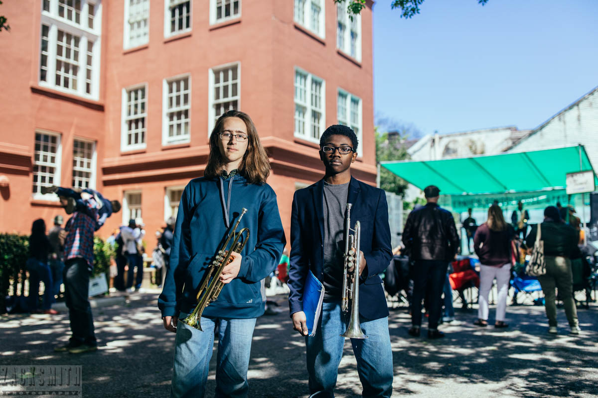 NOCCA student musicians David and Diji after their French Quarter Fest 2018 performance.