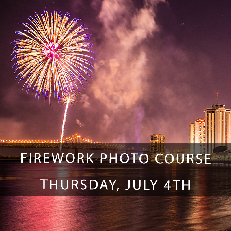 Firework Photography Course New Orleans - Photographing those magical firework displays over New Orleans is easier than you think! When you take a course from Zack Smith you know that even the most difficult photographic situations will be made easy. Come with us to our VIP staging area at Crescent Park on the banks of the Mississippi River to shoot the Deuling Barges firework display on July 4th.