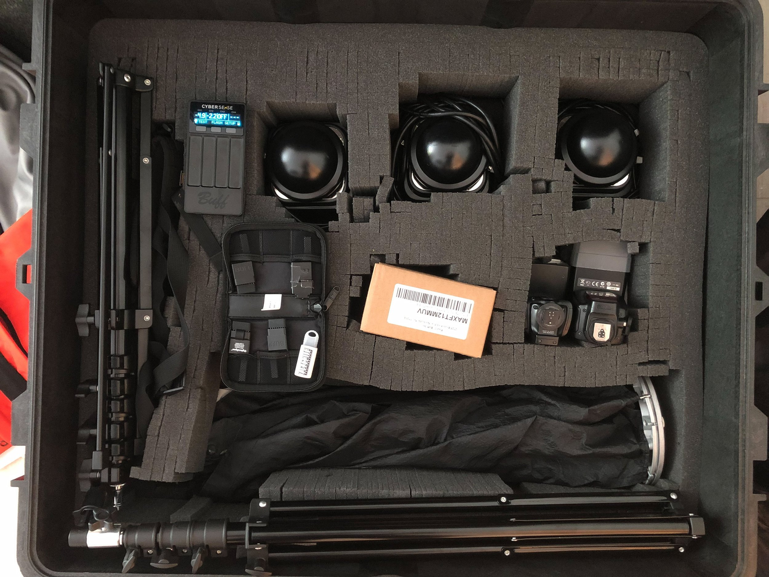 All of my necessary headshot lighting gear fit nicely in this Pelican 1660 case.
