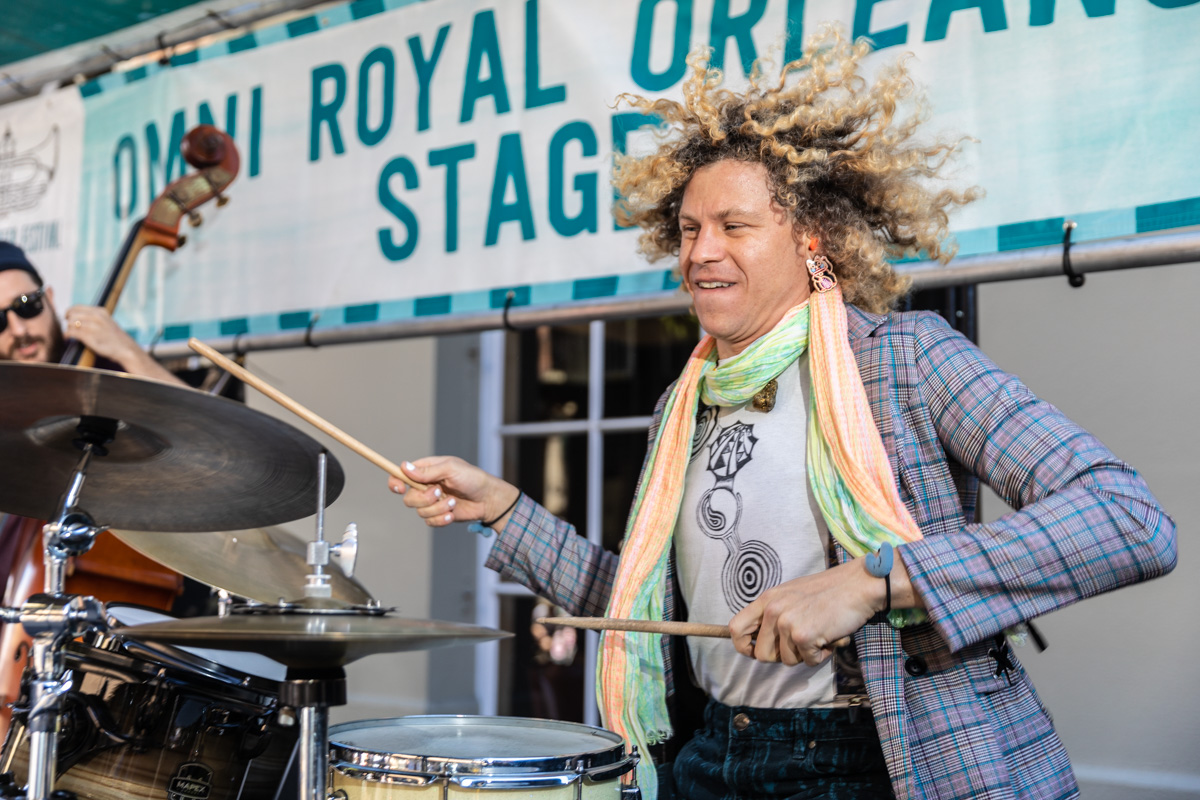 Drummer Simon Lott performs with Jesse Morrow on Royal Street in one my favorite music moments of my 10 years shooting French Quarter Fest. ©Zack Smith Photography (below: Brad Walker and Jesse Morrow)