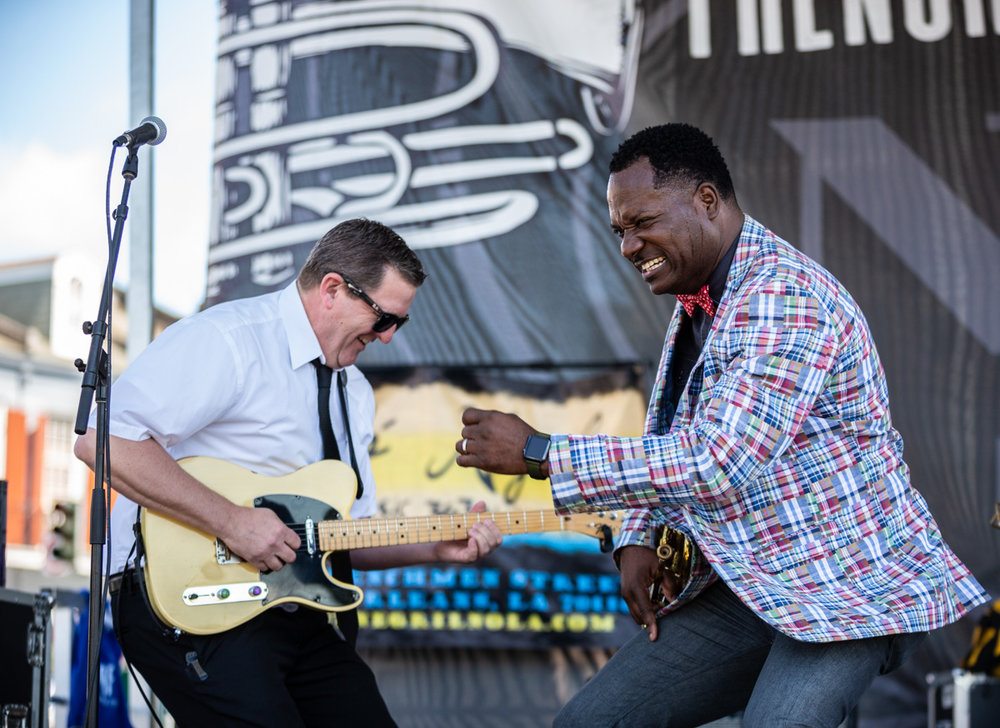 Brice Miller brings joy and funk to his set at French Quarter Fest. ©Zack Smith Photography
