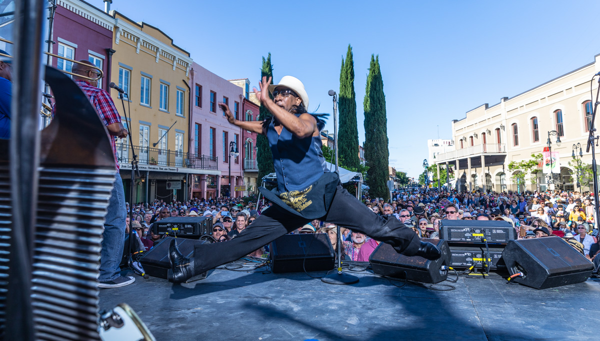 "Rockin Dopsie mid air in a full split? One of my ""bucket list"" shots…done. What a performer and all around great dude. ©Zack Smith Photography"