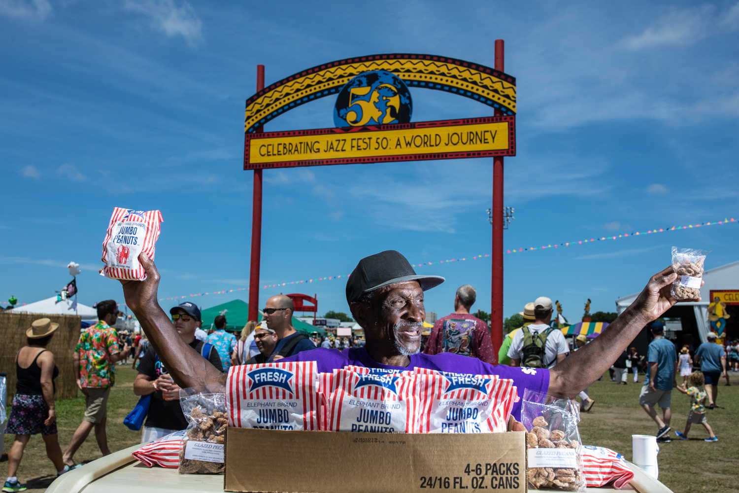 Lucius Thomson, hawking peanuts for 37 years at Jazz Fest!