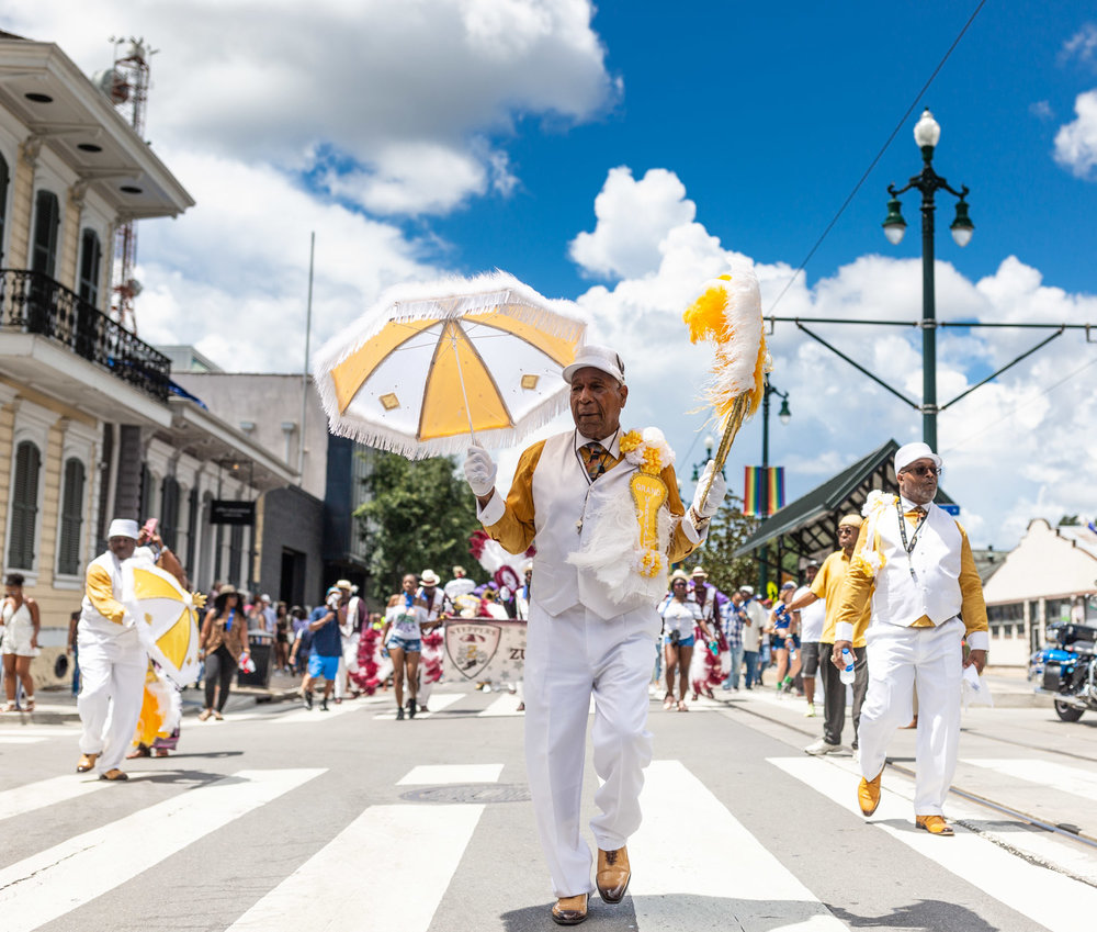 Norman Thomas, Grand Marshall, Zulu Steppers rolling down Rampart St on August 4th, 2019. ©Zack Smith Photography