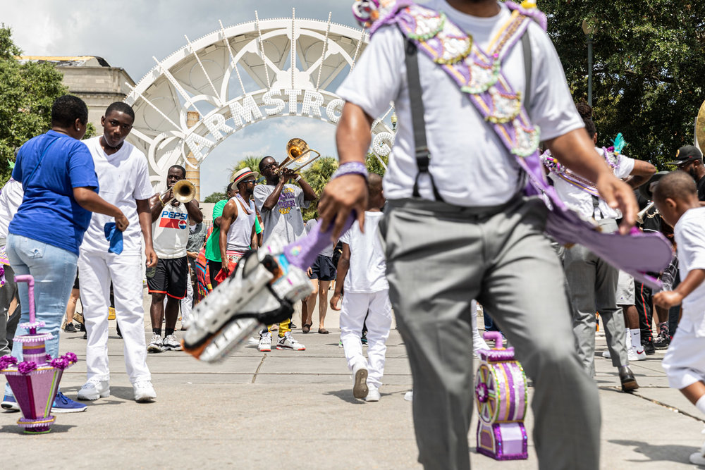 This vantage point of TBC Brass Band, Sudan SAPC, dancers and Armstrong Park are my favorite moments to witness and photograph. So much going on, it's like a one page visual book you can't put down.