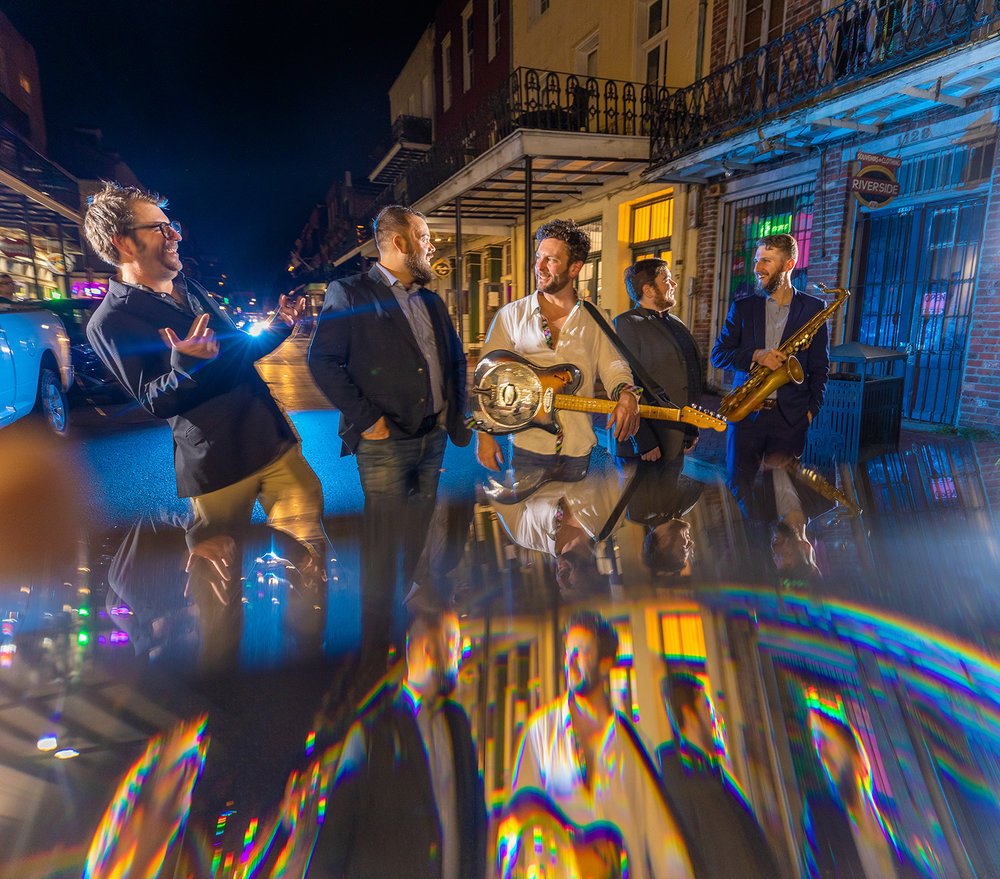Prism photography with The New Orleans Johnnys in the middle of Decatur Street, New Orleans 2019.