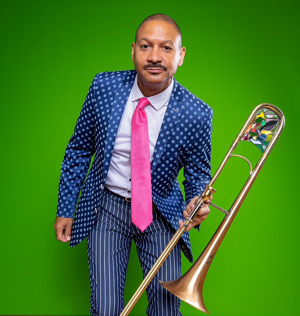 Delfeayo Marsalis photographed at his home, New Orleans 2019.