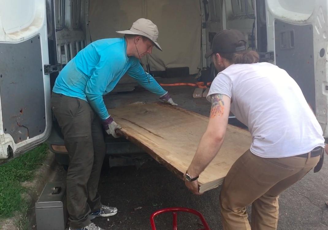 Dane & Austin unloading slabs