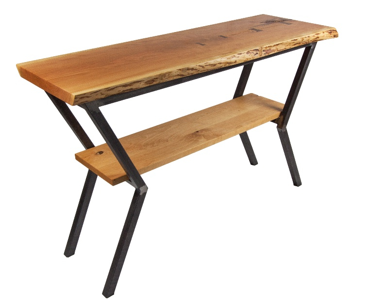 """Live Edge Cherry Entry Table with 2"""" top and welded steel base"""