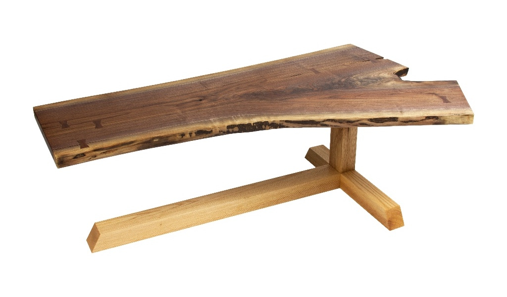 Walnut and Red Oak cantilevered coffee table