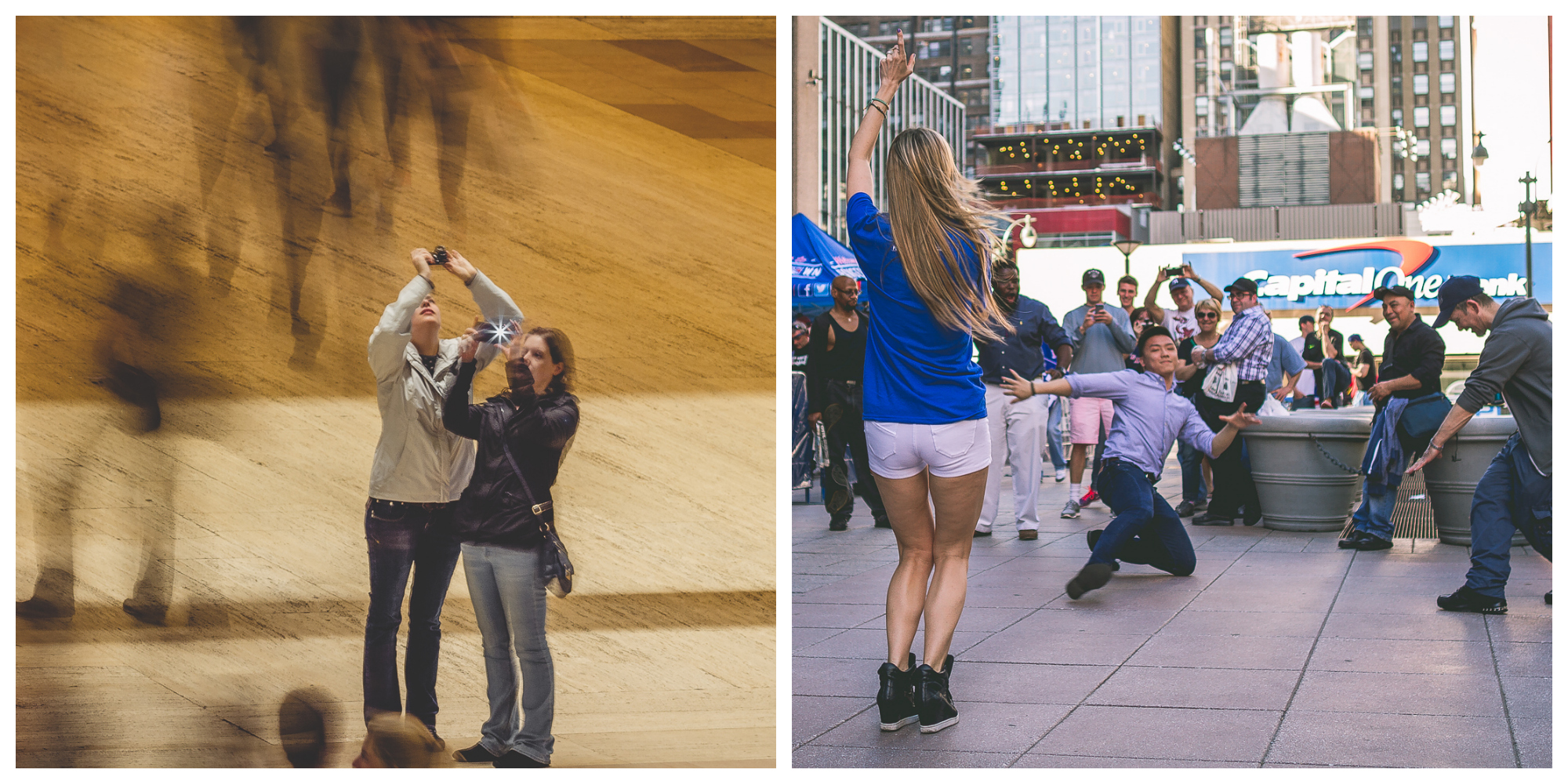 Left:  long shutter speed to capture movement around still photographers /  Right:  fast shutter speed to capture breakdancers in the moment