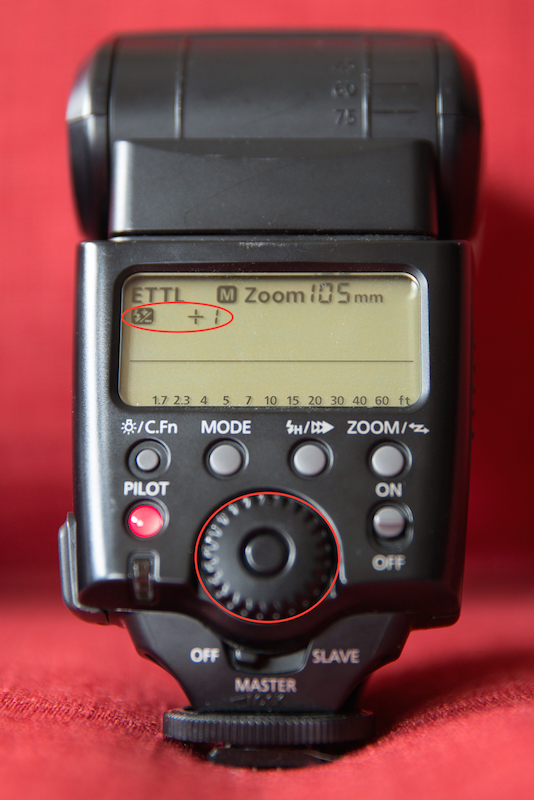 For most flashes, you will click the button in the center of the dial. Adjust the dial up or down to change the exposure compensation.