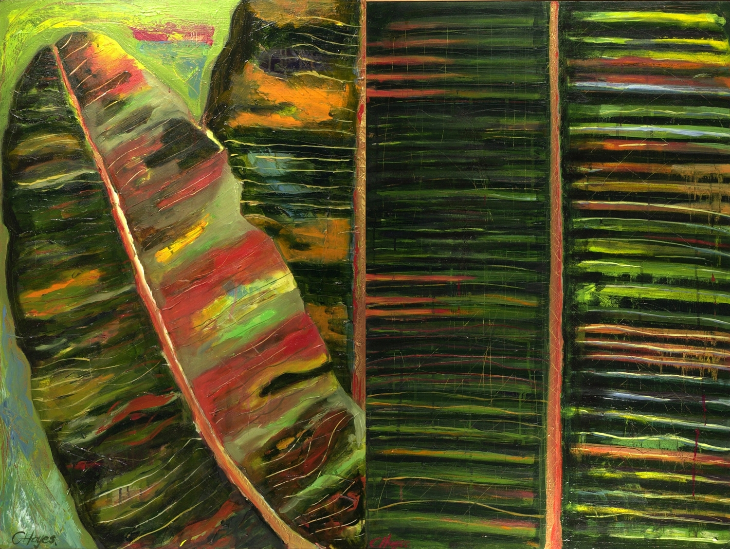 BANANA LEAF DIPTYCH   acrylic on canvas, 120x90cm