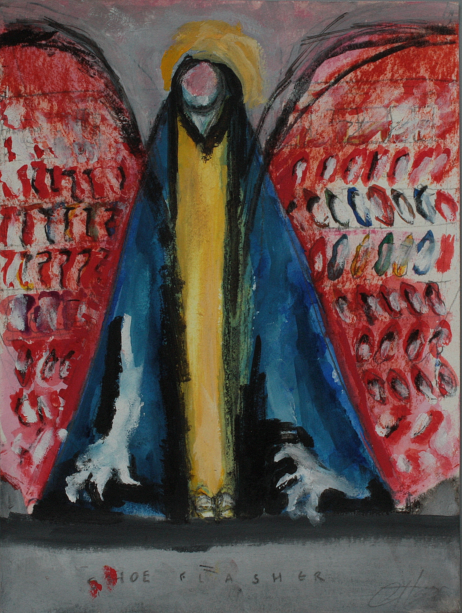 SHOE FLASHER  mixed media on paper, 23x31cm