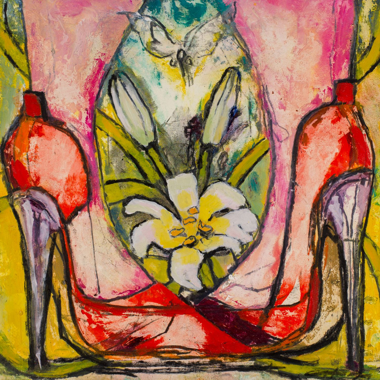 LILIES AND HEELS   oil on paper, 30x30cm