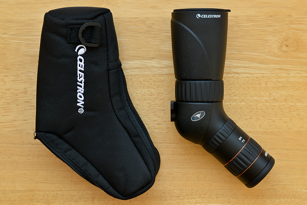 The Hummingbird scope comes with a simple padded pouch, a strap and lens caps.