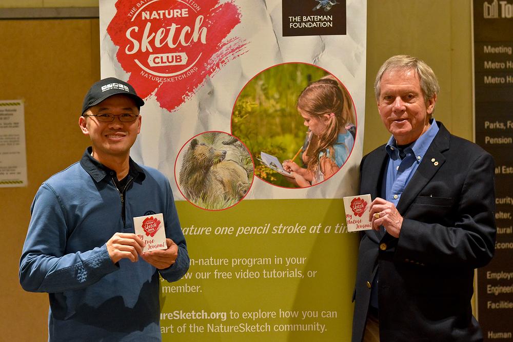 With Robert Bateman at the launch of Nature Sketch, October 2017.    Photo: Birgit Freybe Bateman