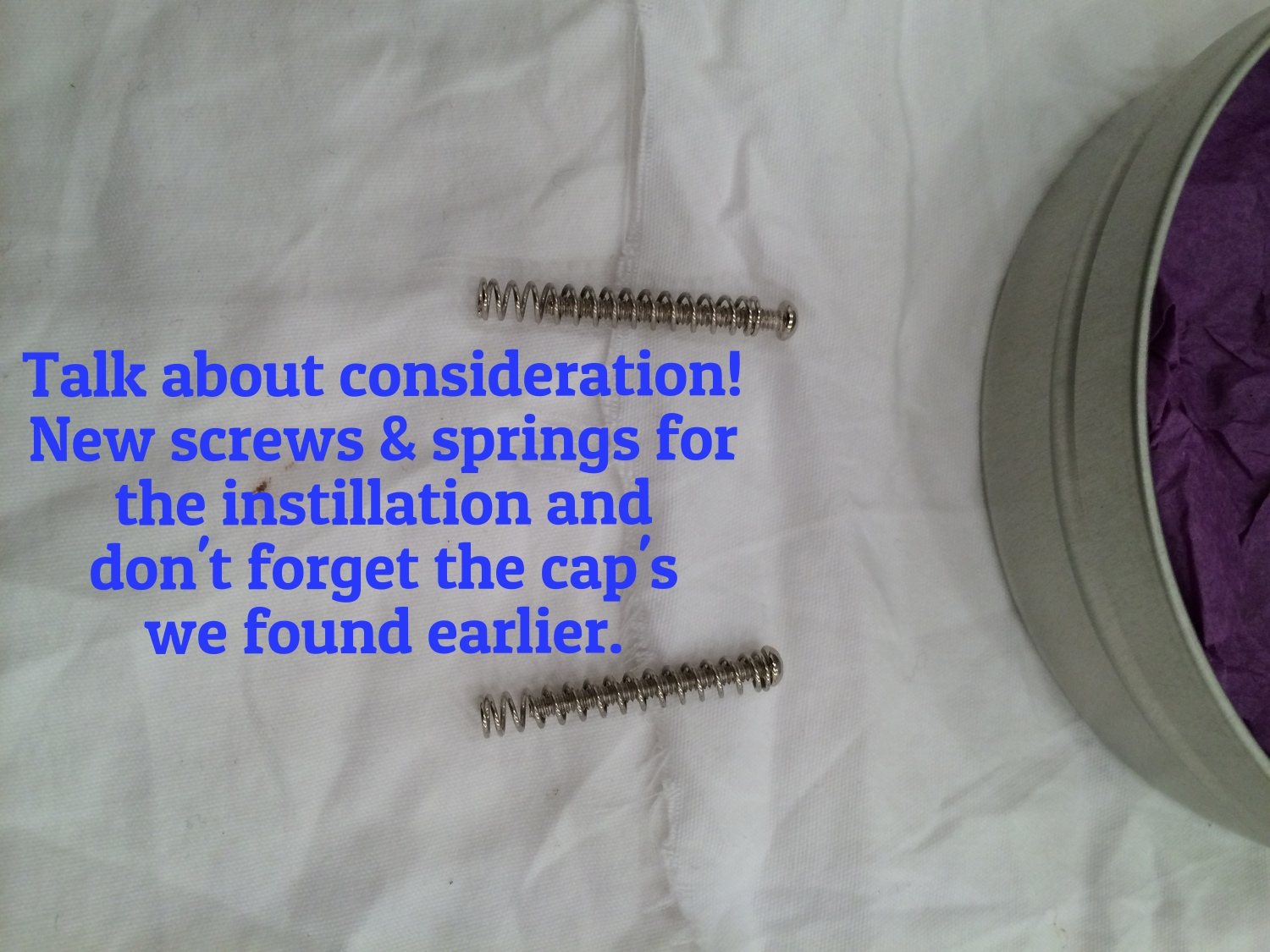 These guys even toss in a set of new springs and screws for the installation! All in all a great presentation and thoughtfull additions to make installation easier. A+ gents.