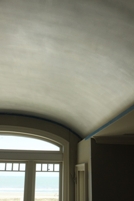 Pearlescent finish in master bedroom barrel vault ceiling.