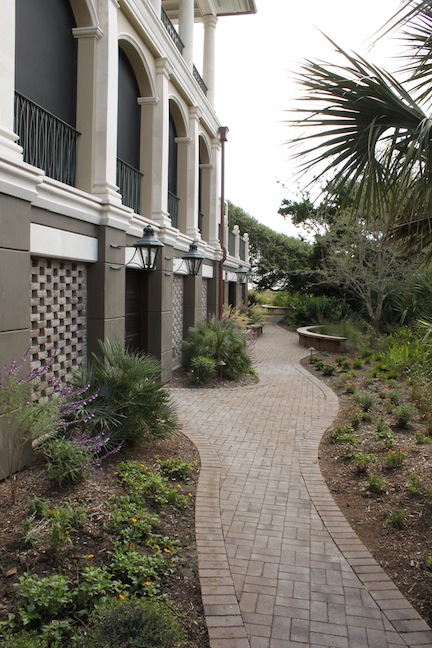 Pathway to rear gardens along west elevation, Kiawah Island beach residence