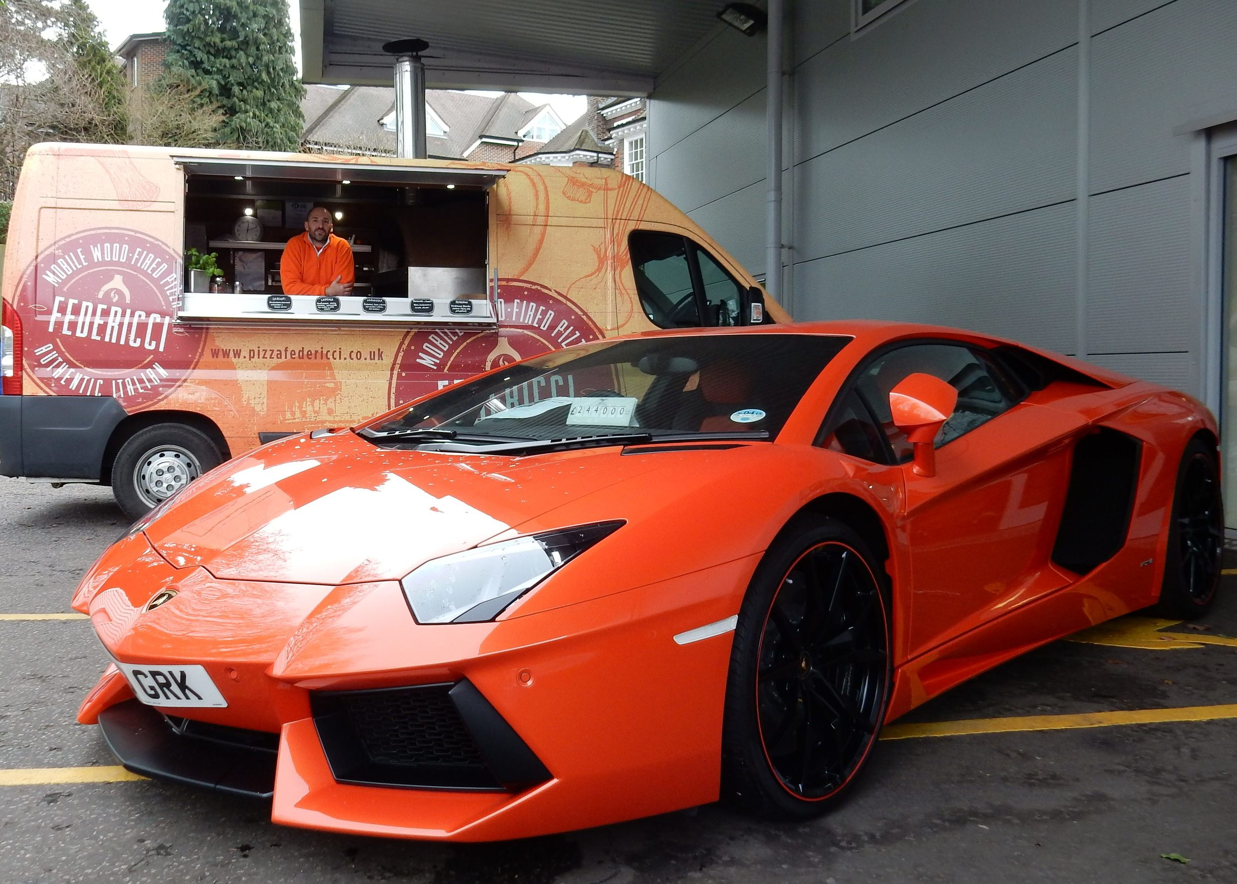 Preparing for a Client Drive Event at Lamborghini Sevenoaks - thank you for providing a car in our team colours!