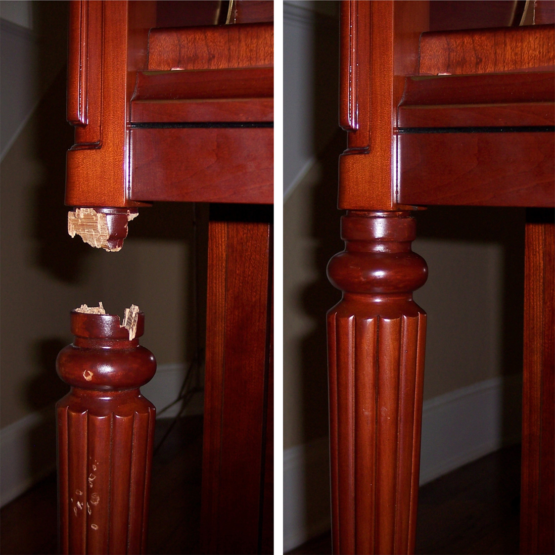Repaired piano leg from our work gallery   SEE MORE WORK SAMPLES