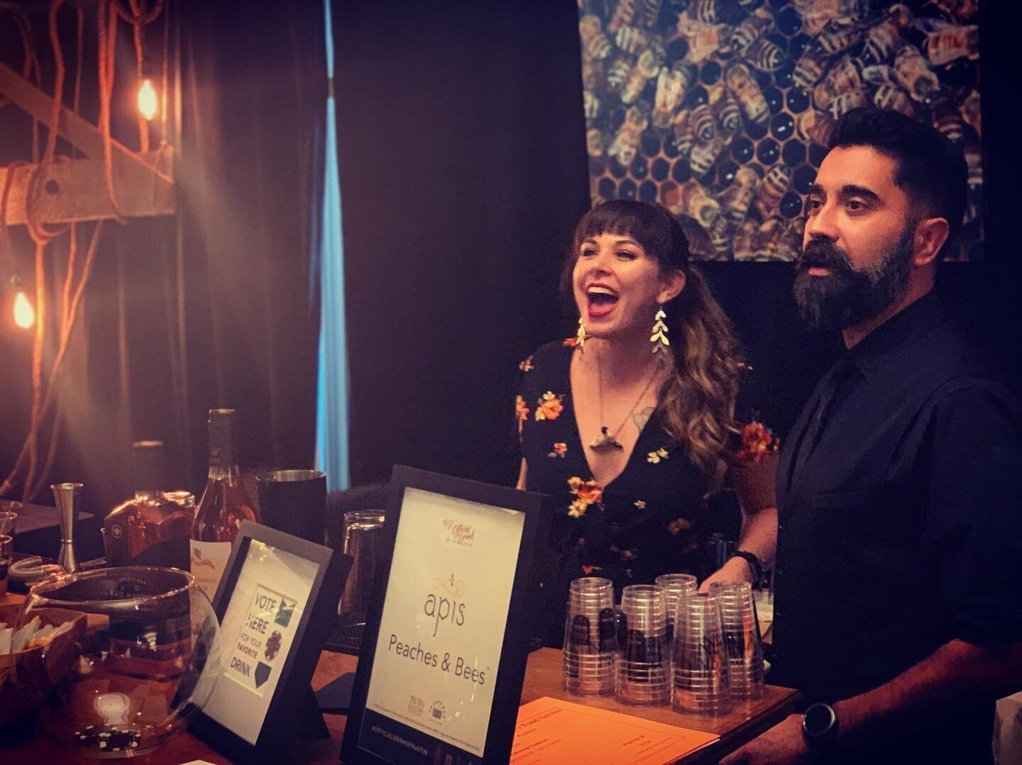 Beverage Director (and sole creator of the Peaches and Bees cocktail) Chelsea Carter, and General Manager of Apis, Jose Sapien.