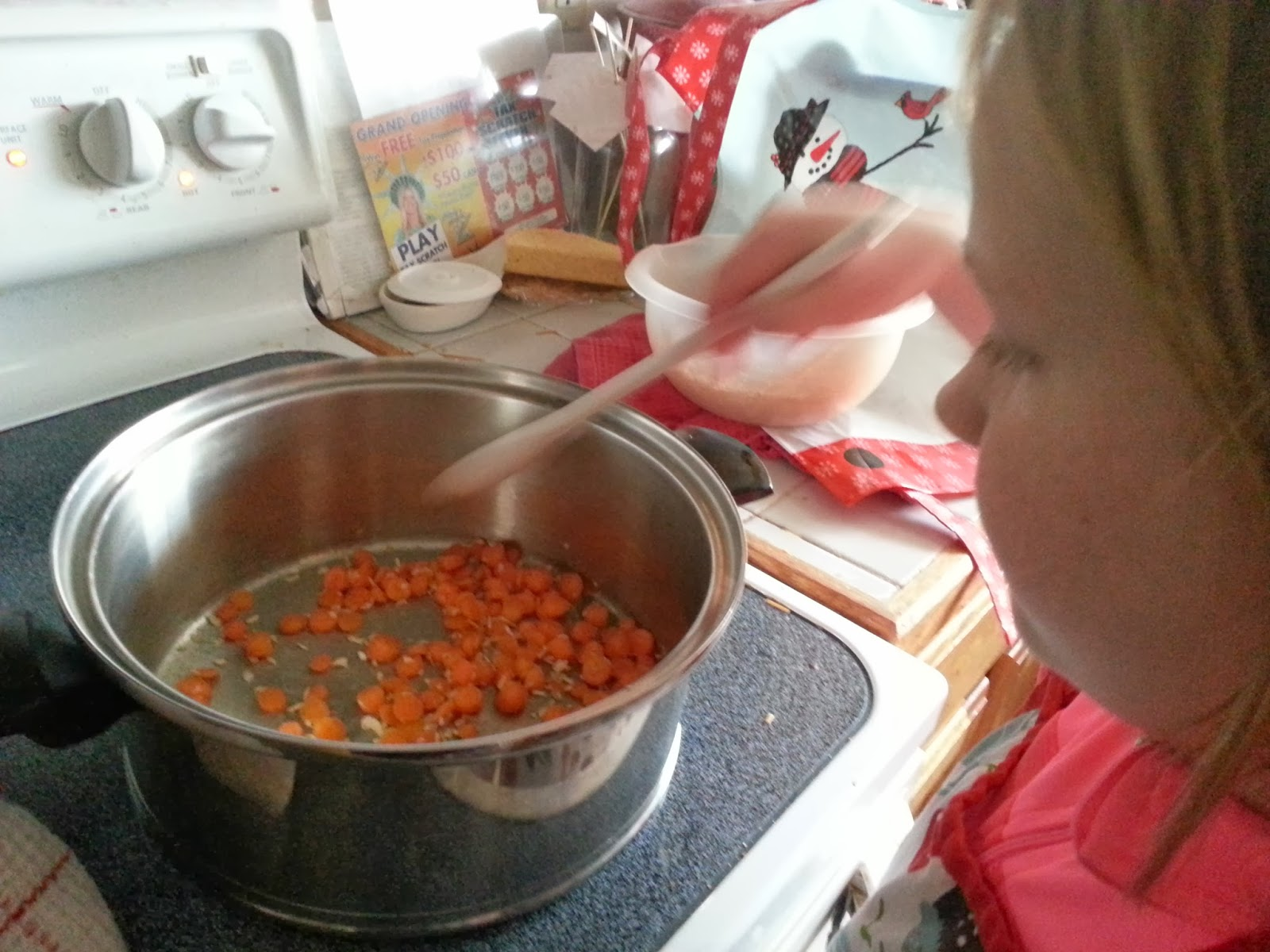 Starting to cook the veggies for the soup. Our last meal together was completely different so this was something new for her to do as well.