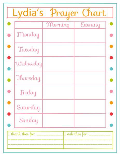 Great prayer chart from Rachael's Booknook