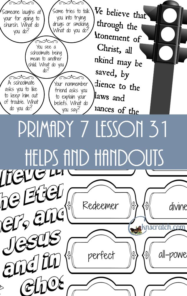 These lesson helps and handout packets seriously save me as a LDS Primary teacher.  Here's Primary 7 Lesson 31