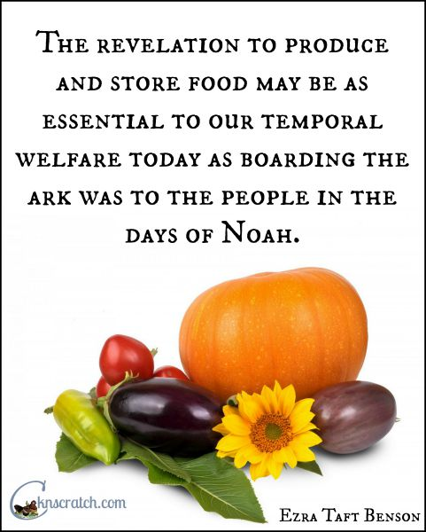 Yep, this quote lights some more fire under me to get my food storage in order. Great LDS handouts and study guide for Ezra Taft Benson Chapter 21: Principles of Temporal and Spiritual Welfare