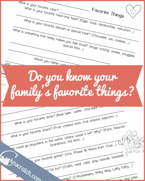 Great idea! Use this favorites survey every year so you know just what to do to help your family feel loved.