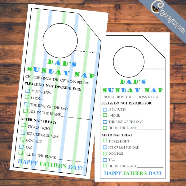 These are cute for Father's Day- Dad's Sunday Nap Door Hangers