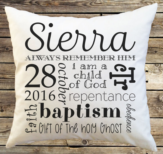 Love this idea- baptism pillow gift plus more suggestions