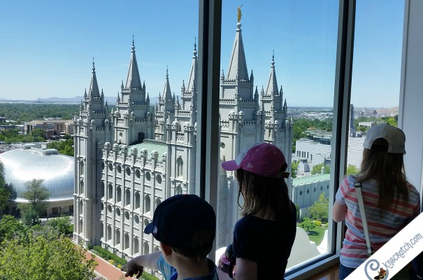 Getting a bird's eye view at the top of the Joseph Smith Memorial Building. Great tips on what to see in SLC